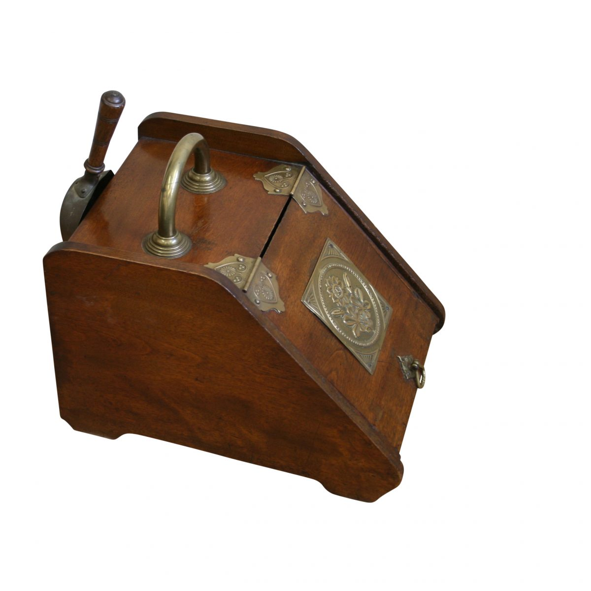 Art Nouveau walnut fireside coal scuttle/williamsantiques
