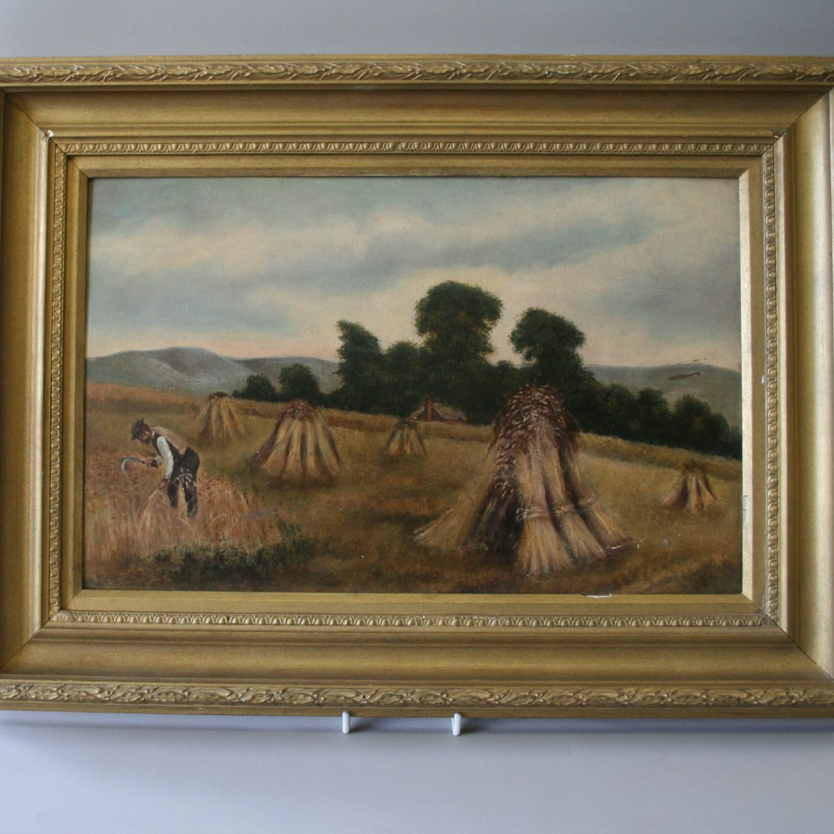 oil on canvass of a man in a corn field