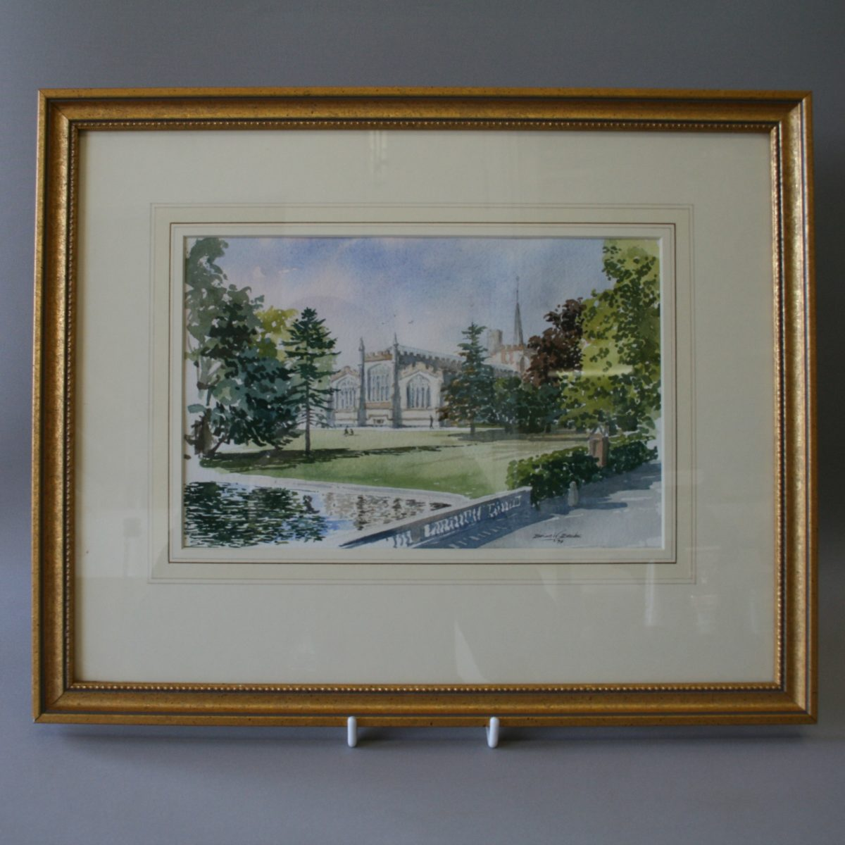 watercolour by Brian Banks of St.Albans cathedral/williamsantiques