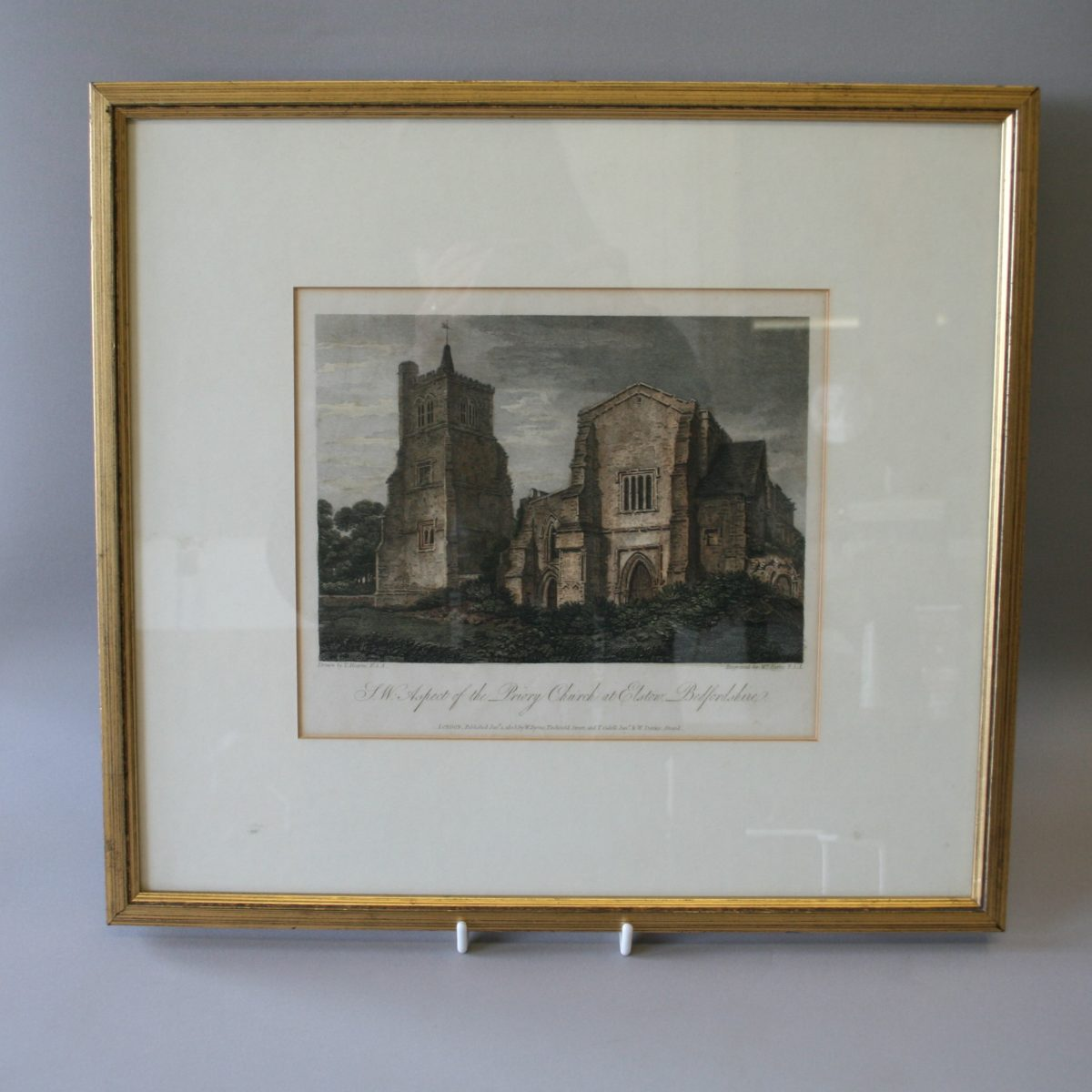Copperplate view of Priory church at Elstow, Bedford/williamsantiques