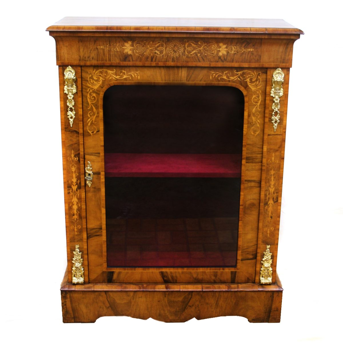 Victorian inlaid walnut pier cabinet/williamsantiques