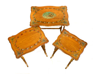 nest of three satinwood hand painted side tables/williamsantiques
