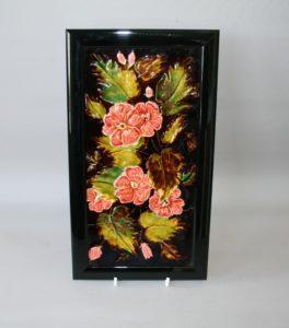 Antique Floral Majolica Tile/williamsantiques