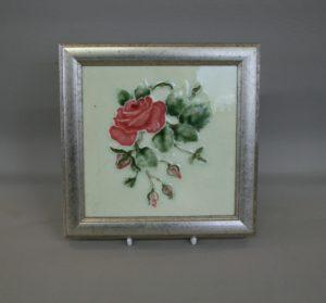 Art Nouveau tile depicting a pink rose/williamsantiques