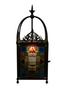 stained glass hall way hanging lantern/williamsantiques