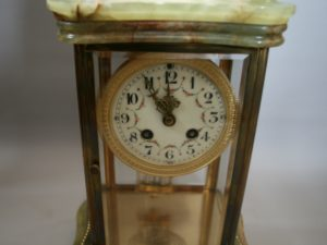 green onyx French mantel clock/williamsantiques