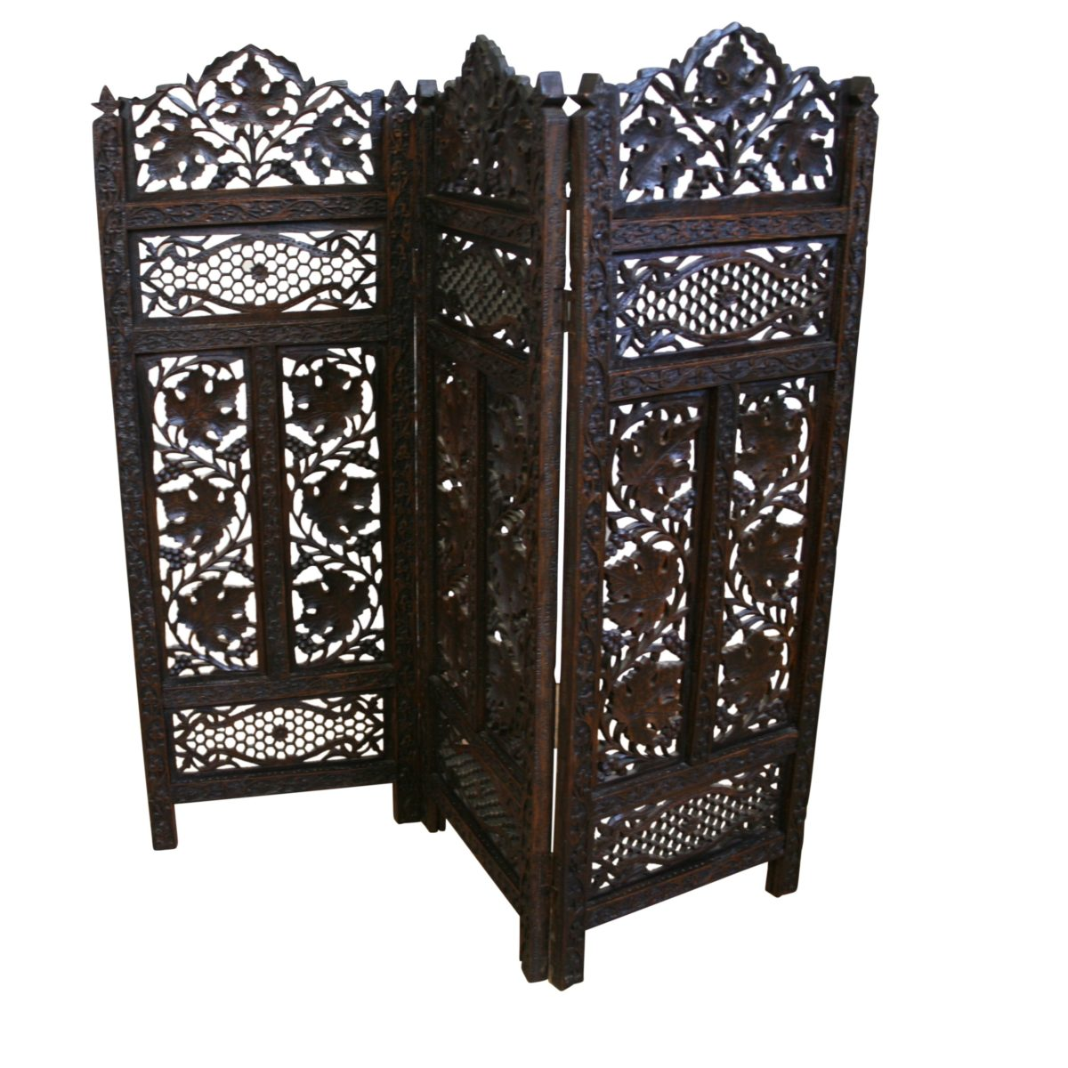 Indian hardwood carved triple folding firescreen/williamsantiques