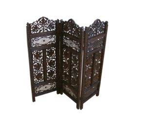 Indian hardwood carved triple folding firescreen/williamsantiques