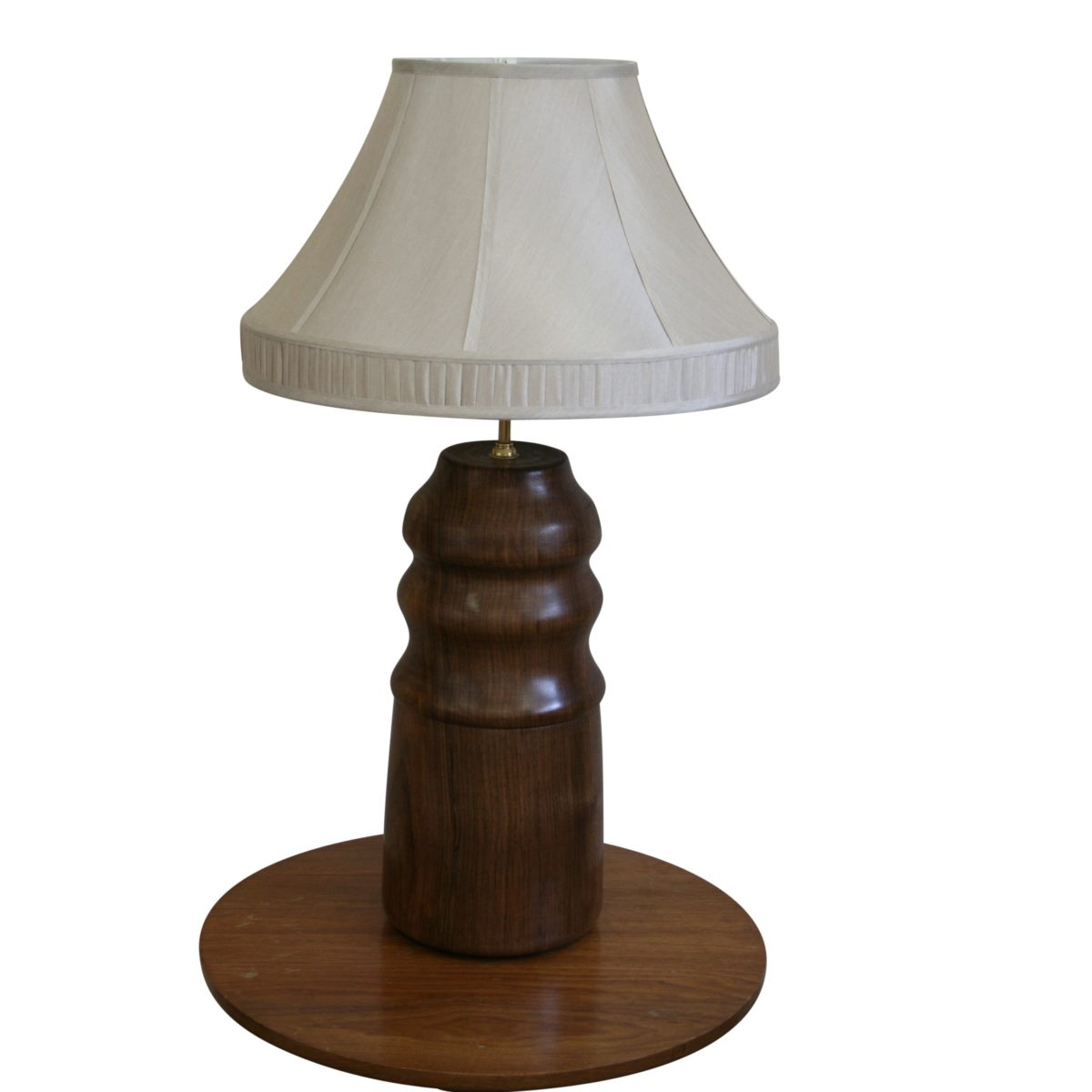 walnut wood bulbous shape turned lamp base/williamsantiques