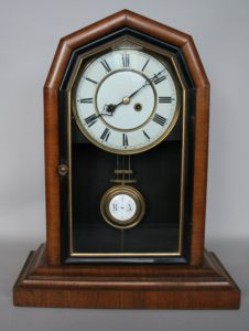 walnut mantle clock/williamsantiques