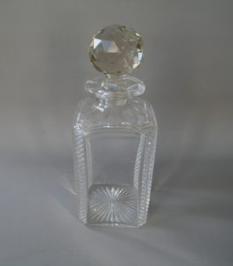 square cut glass decanter/williamsantiques