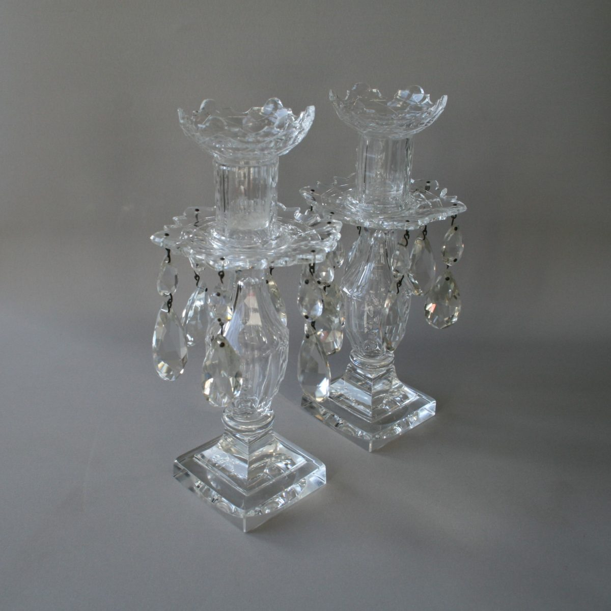 candlesticks with glass lustres/williamsantiques