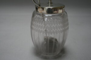 glass jam jar with silver spoon/wiliamsantiques