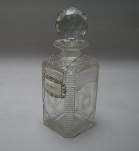 cut glass whisky decanter with silver label/williamsantiques