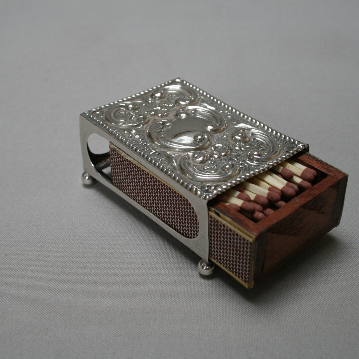 silver match box cover/williamsantiques