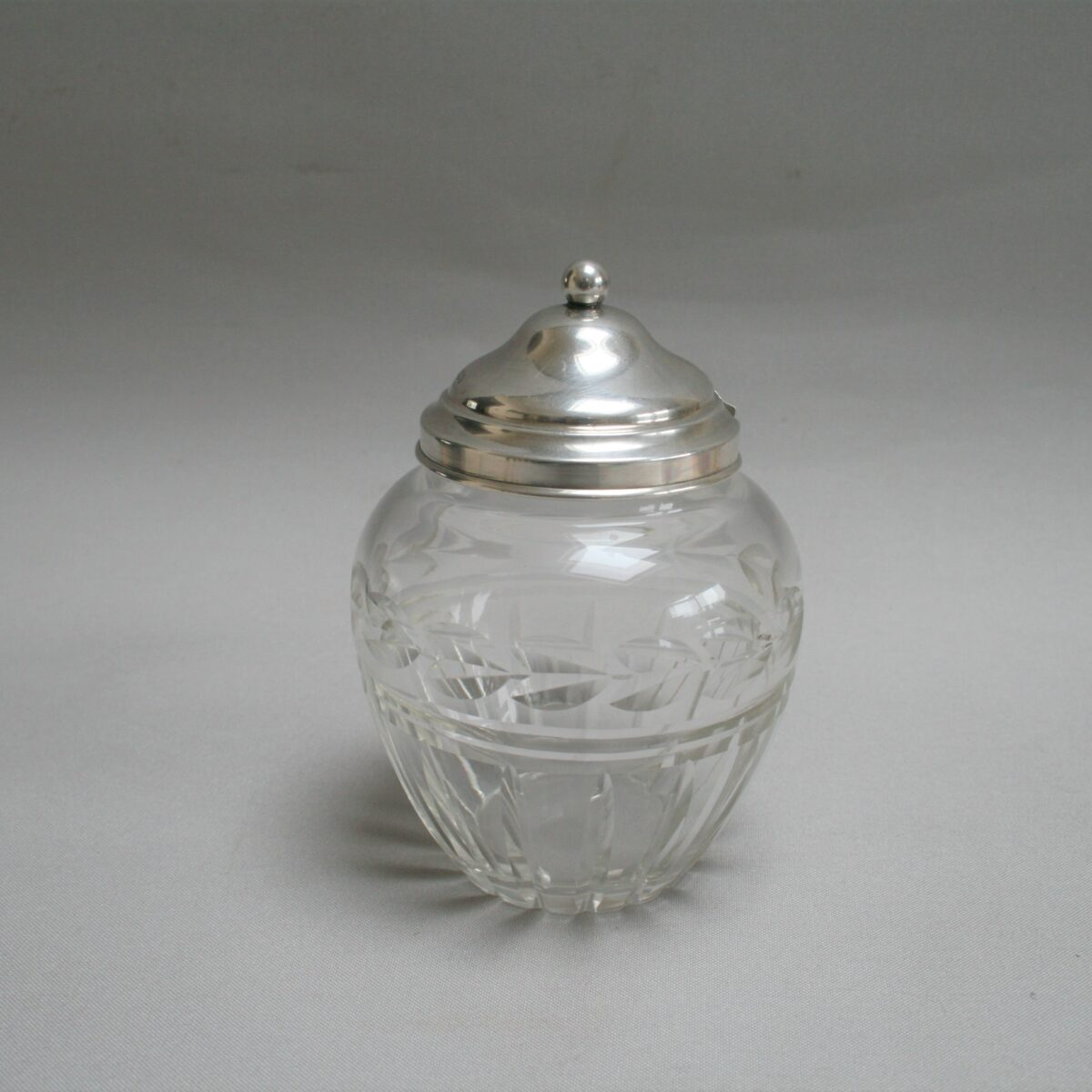 silver top and glass jam pot/williamsantiques