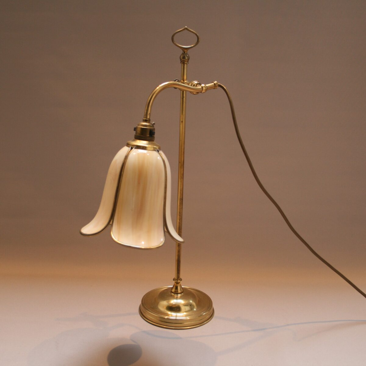 Edwardian brass and glass desk lamp/williamsantiques