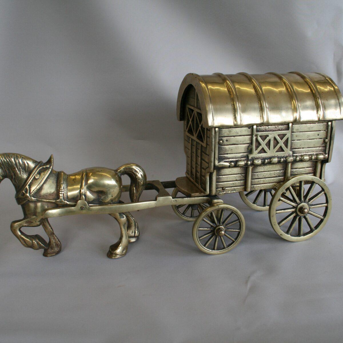 heavy brass horse and caravan/williamsantiques