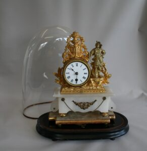 French gilt mantle clock with glass dome/williamsantiques