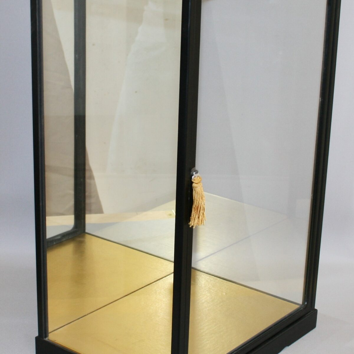 ebonised counter top or doll display cabinet/willamsantiques
