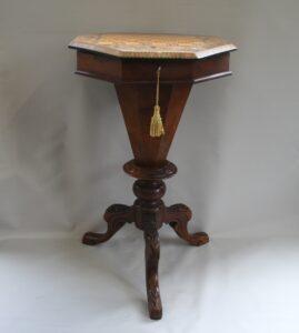 Victorian walnut trumpet workbox/williamsantiques