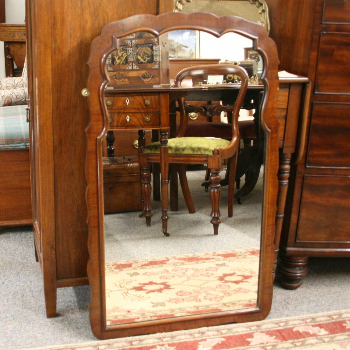 mahogany cross-banded mirror